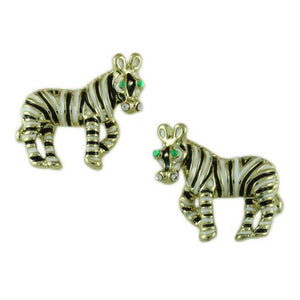 Black and White Enamel Zebra Brooch Pin and Earring Gift Set (er) - Lilylin Desgins