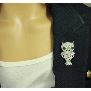 Large Crystal Owl with Green Crystal Eyes Brooch Pin - Lilylin Designs
