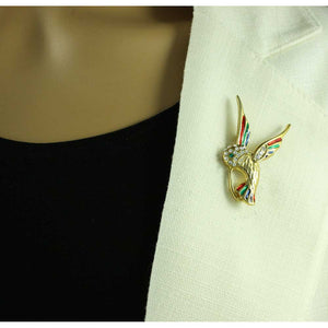 Model with Gold with Enamel and Crystal Wings Hummingbird Brooch Pin - Lilylin Designs
