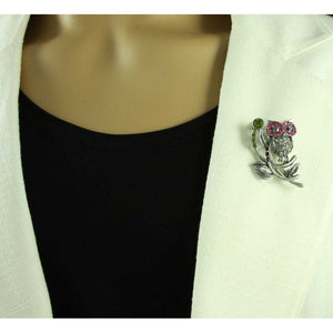 Model with Owl with Fuchsia and Gray Crystal Eyes Brooch Pin - Lilylin Designs