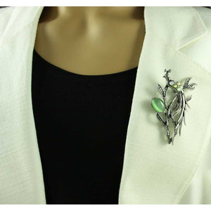 Model with Cats Eye and Crystal Peacock Resting in Tree Brooch Pin - Lilylin Designs