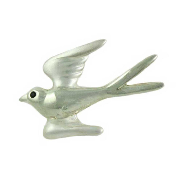 Silver-tone Dove with Black Crystal Eye Brooch Pin - Lilylin Designs