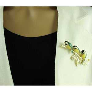 Model with 3 Black, Yellow and Green Enamel Chickadees on Branch Brooch Pin - Lilylin Designs