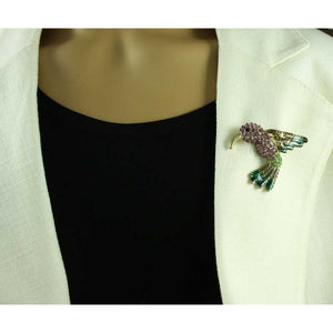Model with Light Purple Crystal Hummingbird with Enamel Wings Brooch Pin - Lilylin Designs