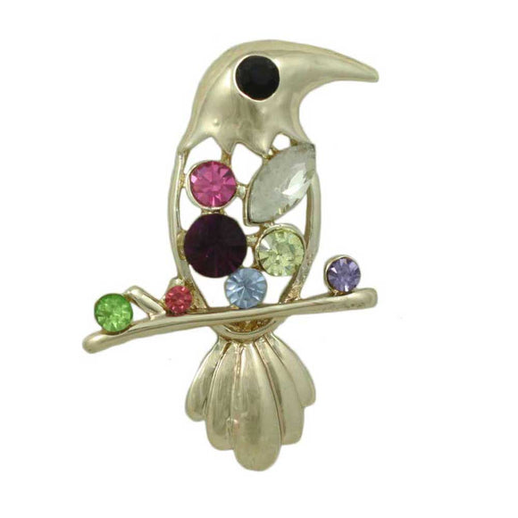 Cutout Jeweled Belly Crystal Bird on Branch Brooch Pin - Lilylin Designs