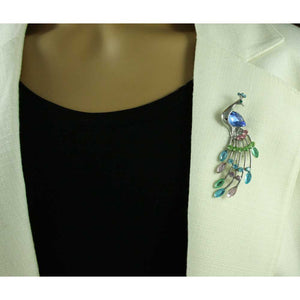 Model with Peacock with Blue Teardrop Stone and Pastel Crystals Brooch Pin - Lilylin Designs