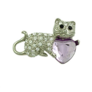 Clear Crystal Cat Holding Large Purple Glass Heart Brooch Pin - Lilylin Designs