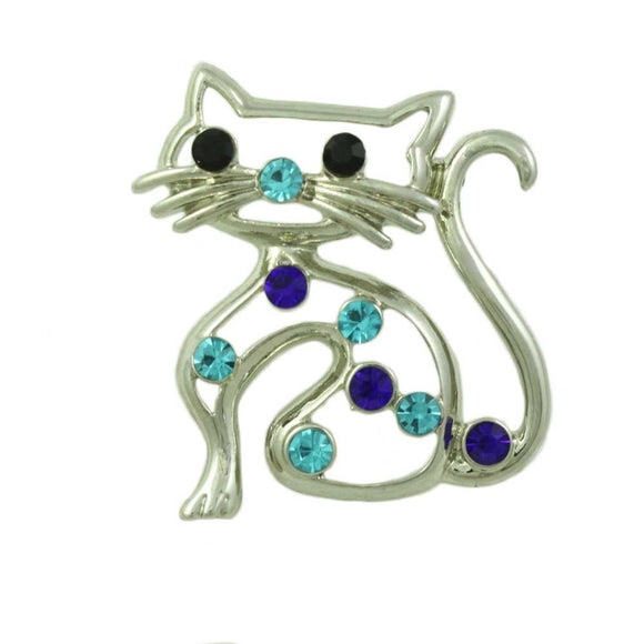 Silver-tone Cutout Cat with Blue Crystals Brooch Pin - Lilylin Designs