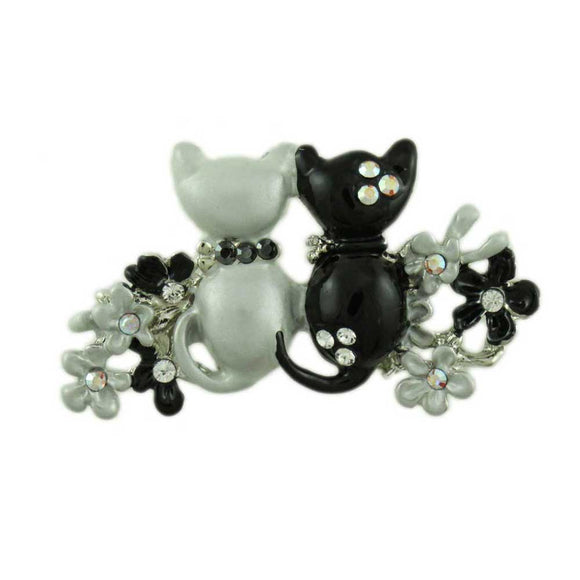Black and Gray Enamel Cats in Flower Garden Brooch Pin - Lilylin Designs