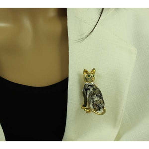 Model with Black and White Cat with Crystal Collar Brooch Pin - Lilylin Designs