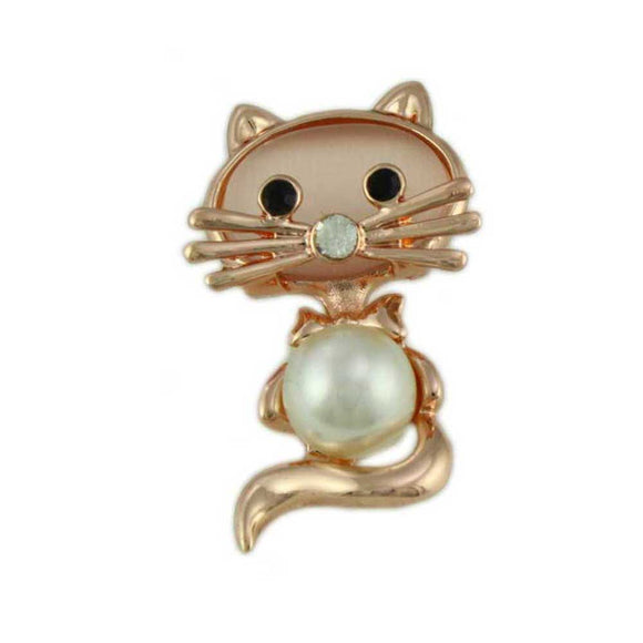 Cute Pearl Belly and Pink Cats Eye Cat Brooch Pin - Lilylin Designs