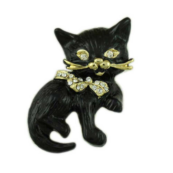 Black Matte Enamel Cat with Crystal Eyes and Bow Brooch Pin - Lilylin Designs