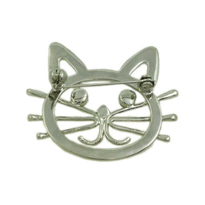 Gold and Silver Cat Head with Black Stone Eyes Brooch Pin (back) - Lilylin Designs