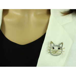 Model with Gold and Silver Cat Head with Black Stone Eyes Brooch Pin - Lilylin Designs