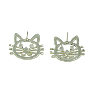 Silver and Gold Cat Head with Black Crystal Eyes Pierced Earring (back) - Lilylin Designs