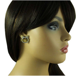 Model with Silver and Gold Cat Head with Black Crystal Eyes Pierced Earring - Lilylin Designs