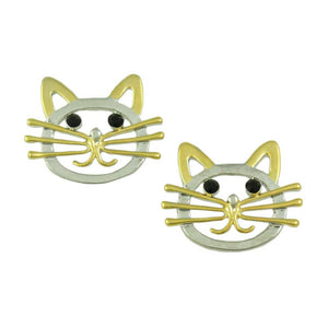 Silver and Gold Cat Head with Black Crystal Eyes Pierced Earring - Lilylin Designs