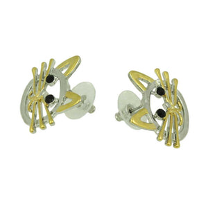 Silver and Gold Cat Head with Black Crystal Eyes Pierced Earring (side) - Lilylin Designs