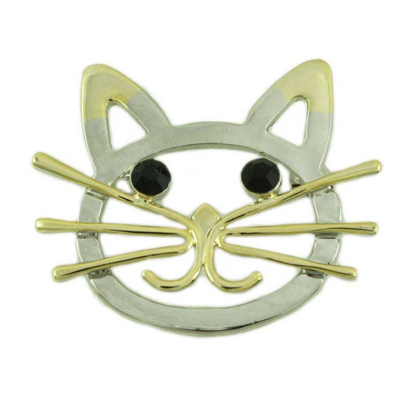 Gold and Silver Cat Head with Black Stone Eyes Brooch Pin - Lilylin Designs