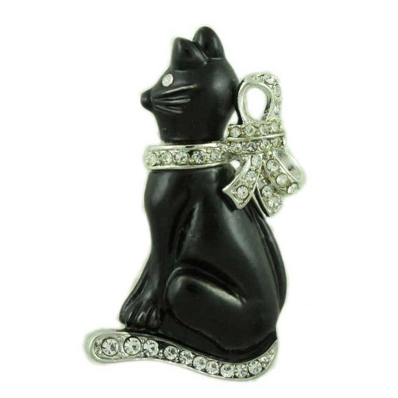 Black Cat with Large Silver-tone Crystal Bow Brooch Pin - Lilylin Designs