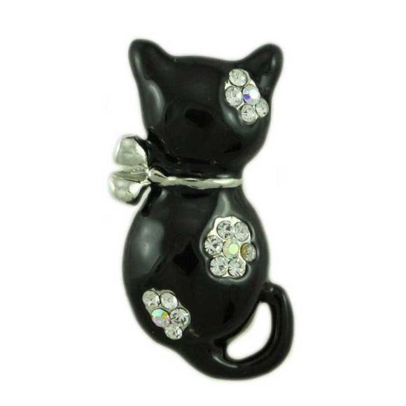 Black Enamel Cat with Crystal Flowers Brooch Pin  - Lilylin Designs