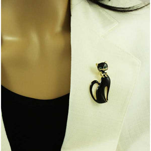 Model wearing Black Enamel Cat with Green Eyes and Bow Tie Halloween Brooch Pin - Lilylin Designs