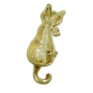 Matte Gold-plated Cat with Crystal Bow and Swinging Tail Brooch (back) - Lilylin Designs