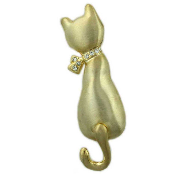 Matte Gold-plated Cat with Crystal Bow and Swinging Tail Brooch - Lilylin Designs