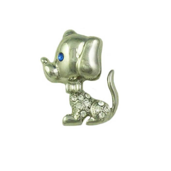 Silver-tone Crystal Puppy Dog with Large Head Brooch Pin - Lilylin Designs