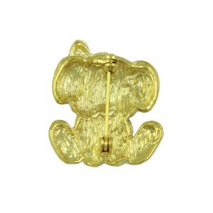 Gold and Silver Crystal Cute Puppy Dog Brooch Pin (back) - Lilylin Designs