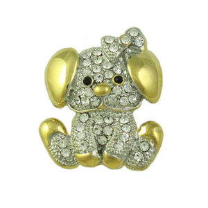 Gold and Silver Crystal Cute Puppy Dog Brooch Pin - Lilylin Designs