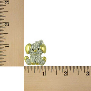 Gold and Silver Crystal Cute Puppy Dog Brooch Pin (sized) - Lilylin Designs