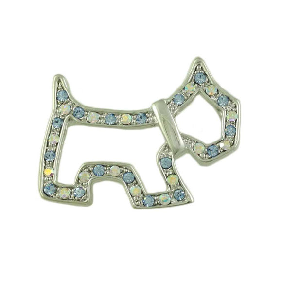 Aqua Crystal Open Scotty Dog Silhouette Brooch Pin - Lilylin Designs