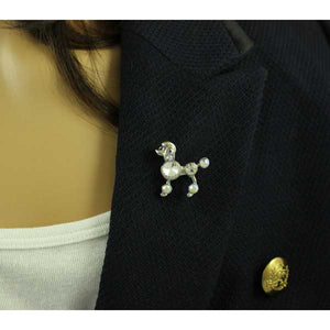 Model with Small Silver-tone Aurora Borealis Crystal Poodle Dog Brooch Pin - Lilylin Designs