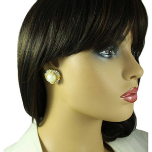 Model with Gold with Clear Crystals Round Dome Pearl Clip Earring - Lilylin Designs