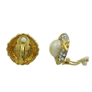 White Dome Pearl Surrounded by Crystals Clip Earring - PRE350