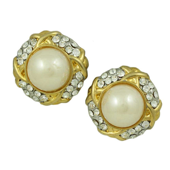 Gold with Clear Crystals Round Dome Pearl Clip Earring - Lilylin Designs