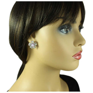 Model with Silver Flower with Clear Crystals and Light Purple Pearl Pierced Earring - Lilylin Designs