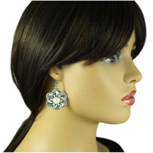 Model with Silver Flower with White Pearl and Crystal Pierced Earring - Lilylin Designs