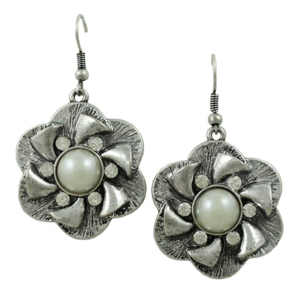Silver Flower with White Pearl and Crystal Pierced Earring - Lilylin Designs