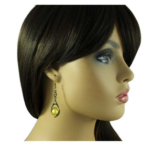 Model with Light and Dark Yellow Crystals with Yellow Pearl Dangling Pierced Earring - Lilylin Designs