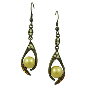 Light and Dark Yellow Crystals with Yellow Pearl Dangling Pierced Earring - Lilylin Designs