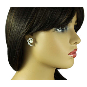Model with Crystal Waves with White Pearl Clip Earring - Lilylin Designs
