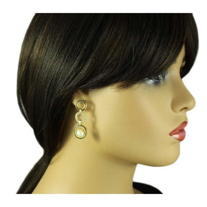 Model with Black Enamel and Clear Crystal Circles Pearl Pierced Earring - Lilylin Designs