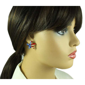 Gold Enamel and Crystal Patriotic Star Pierced or Clip Earring -PRF154E