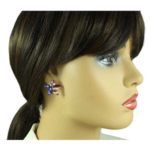 Silver Enamel and Crystal Patriotic Star Pierced Earring - PRF154SE