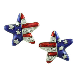 Silver-tone Patriotic Star Earring - Lilylin Designs