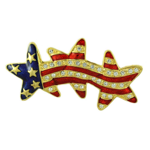 Gold-plated Patriotic Stars Pin - Lilylin Designs