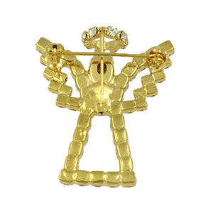Sparkling Gold Crystal Angel with Crystal Wings and Halo Brooch Pin (back) - Lilylin Designs