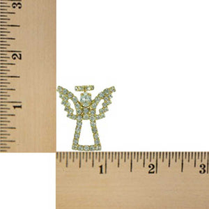Sparkling Gold Crystal Angel with Crystal Wings and Halo Brooch Pin (sized) - Lilylin Designs